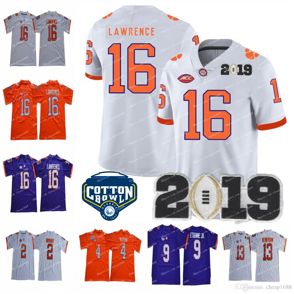 2019 2019 Clemson Tigers 16 Trevor Lawrence 4 DeShaun Watson 9 Travis  Etienne Jr. 13 Hunter Renfrow NCAA Championship Cotton Bowl Football Jersey  From ... e0002bc6e