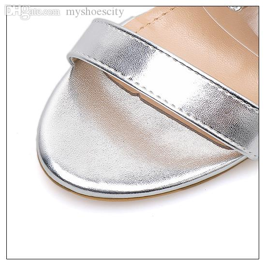 Luxury women designer slides silver rhinestone crystal shoes bride wedding shoes clear heels summer sandal size 35 to 40