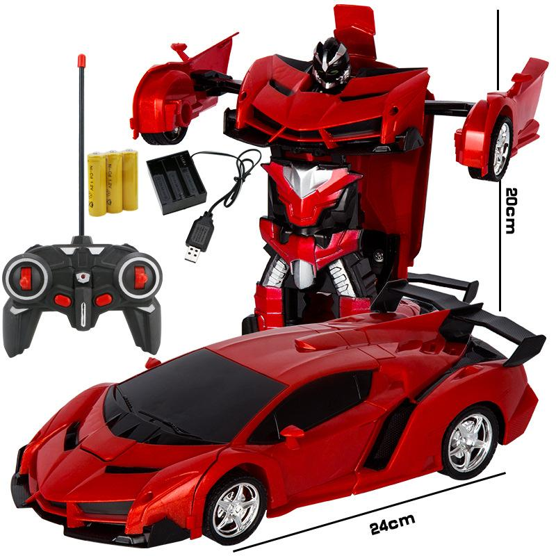 Rechargeable Remote Controlled Robot Transforms Car Toys Blue Red