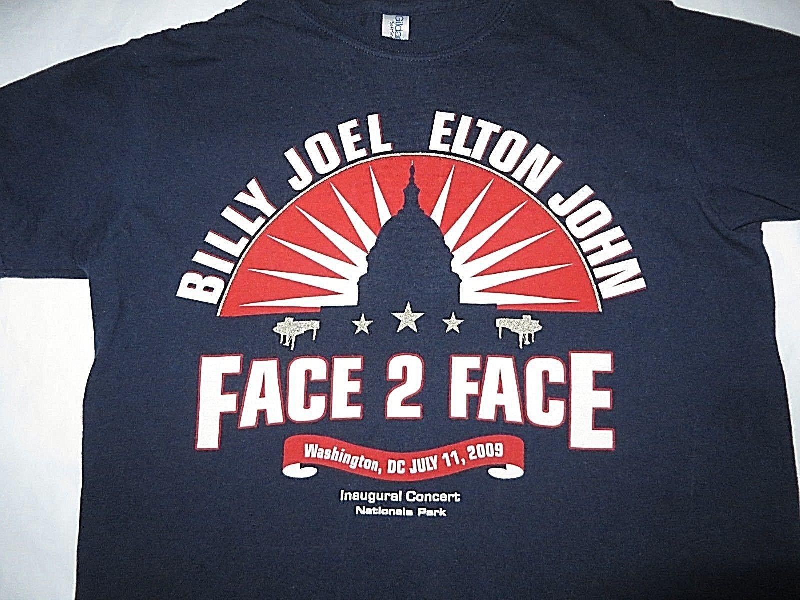 T-Shirt Billy Joel Elton John Face 2 Face Inaugural Concert Piccola stampa fronte / retro
