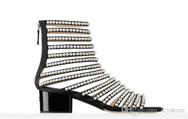 019524e76 New Luxury Designer Catwalk Sandals Women High Heel Cut Out Open Toe Summer  Shoes Ankle Boots Fashion Pearls Studded Gladiator Sandals Wedding Shoes  Wedges ...