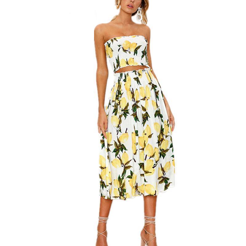 f5594285291a Set Beach Summer Dress Women Long Dress Sexy Strapless Boho Sunflower Lemon  Print Dress Female 2019 Fashion Clothing Summer Dress Floral White And Blue  ...