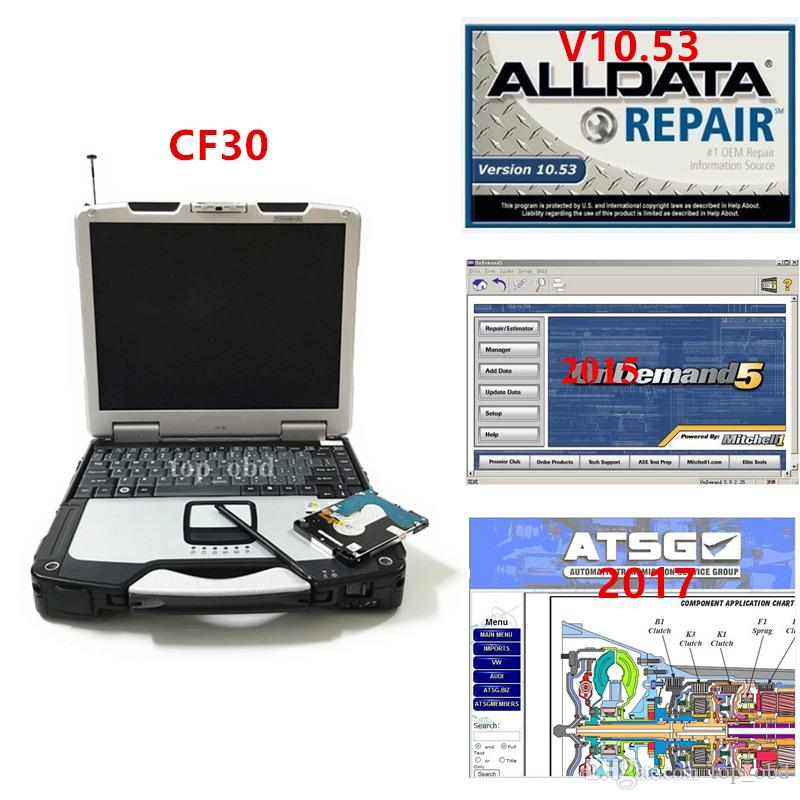 CF30 diagnostic laptop newest Alldata v10.53 Mitchell 2015 and ATSG 2017 3 in 1 TB hdd full set on cf30 4GB laptop