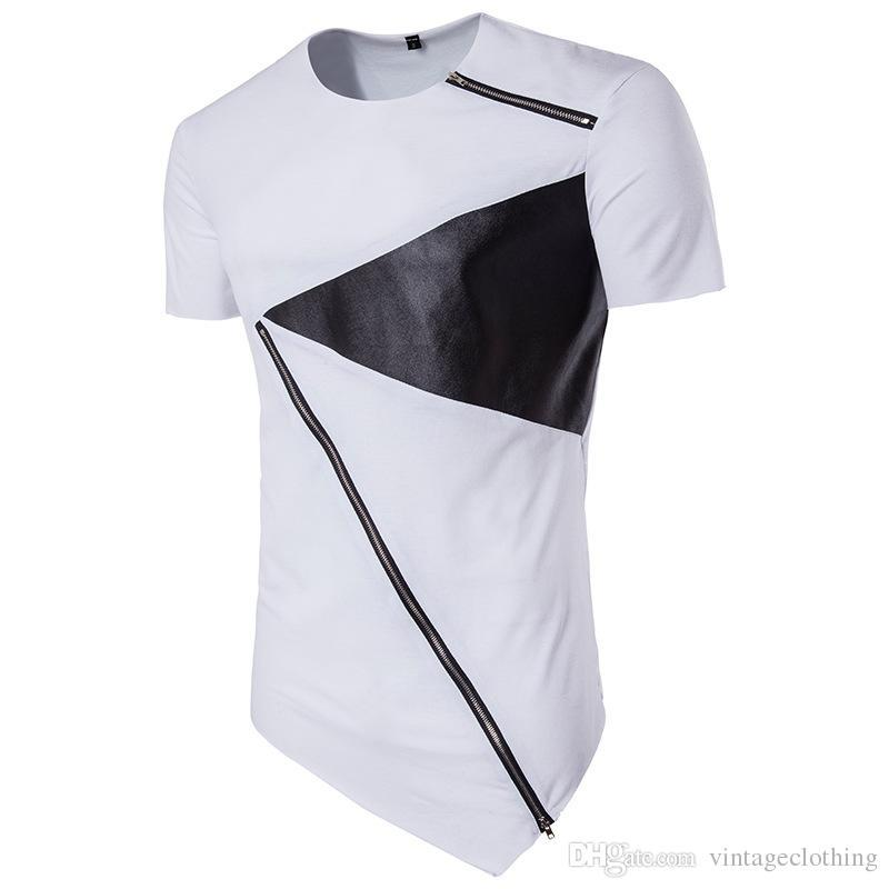 d886a2108a6 Summer White Black T-Shirts with Zipper O Neck Short Sleeve Hip Hop T-Shirt  Top Tee Size S-2XL Online with  27.61 Piece on Yoursuger s Store