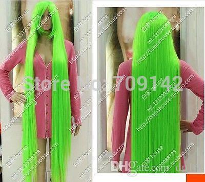 150 cm Long Straight Hair Light Green Celeste Extended High Thickening WIG Kanekalon made Brazilian no lace front wigs