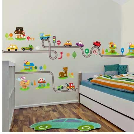 Acquista Cartone Animato Cars Highway Track Wall Stickers Bambini ...