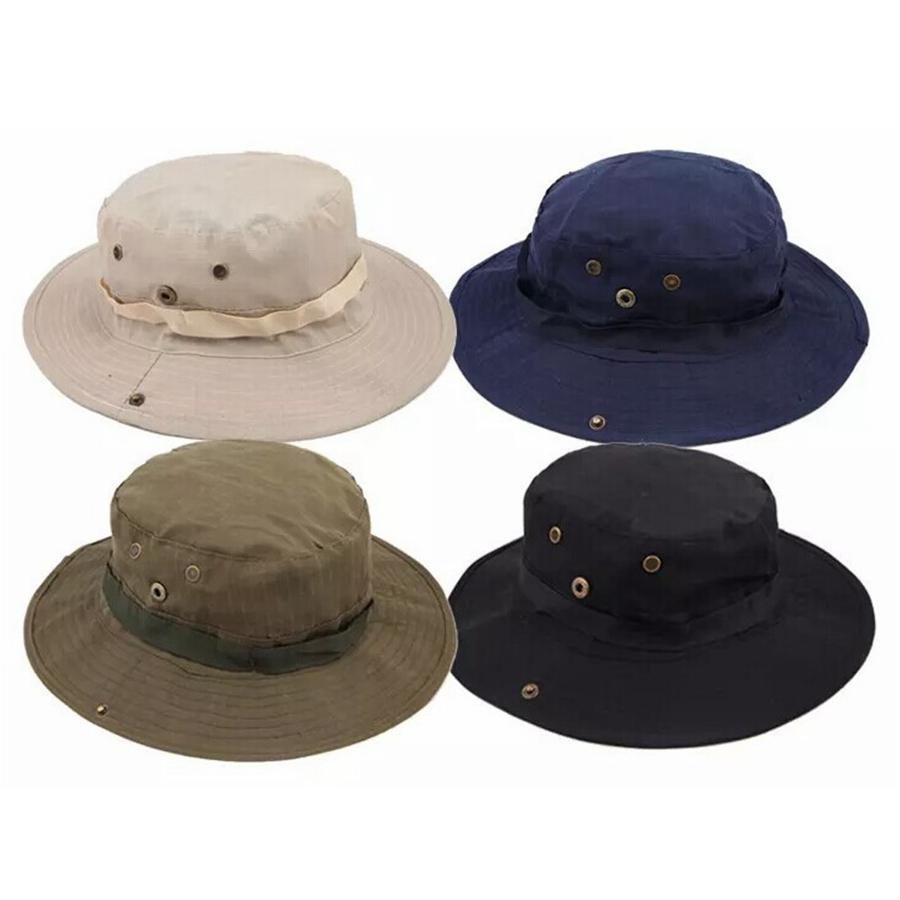 Fashion Men Jungle Fishermans Cap Summer Women Outdoor Sunscreen Bucket Round Cap Leisure Camping Hiking Hat TTA932