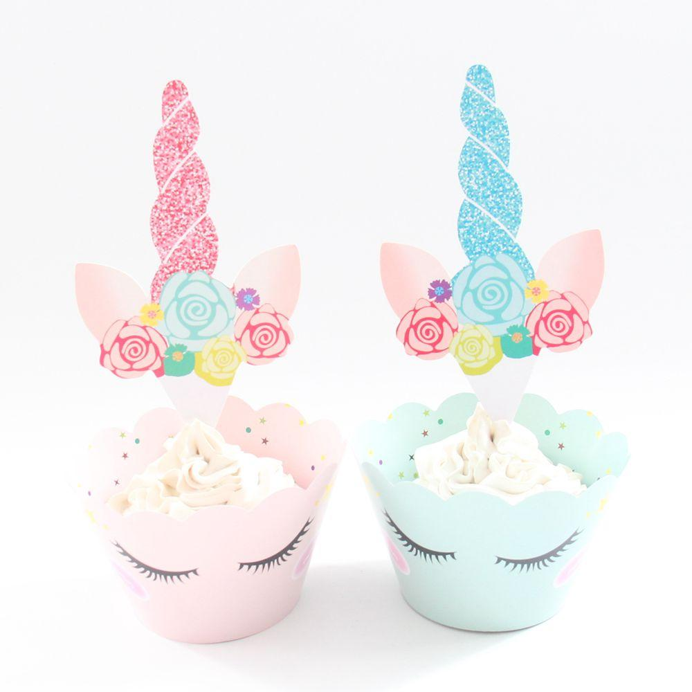 2019 Pink Green Unicorn Paper Cupcake Wrappers Toppers For Kids