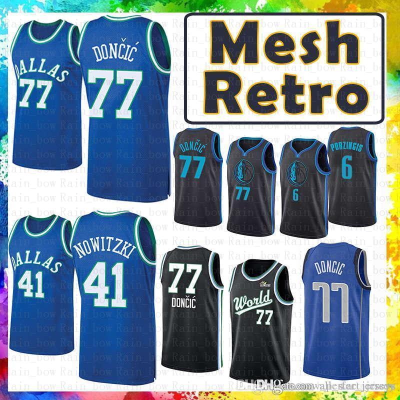 uk availability 8de9a 8bd01 Dallas Jersey Mavericks Mesh Retro Luka 77 Doncic Dirk 41 Nowitzki  Basketball Jerseys