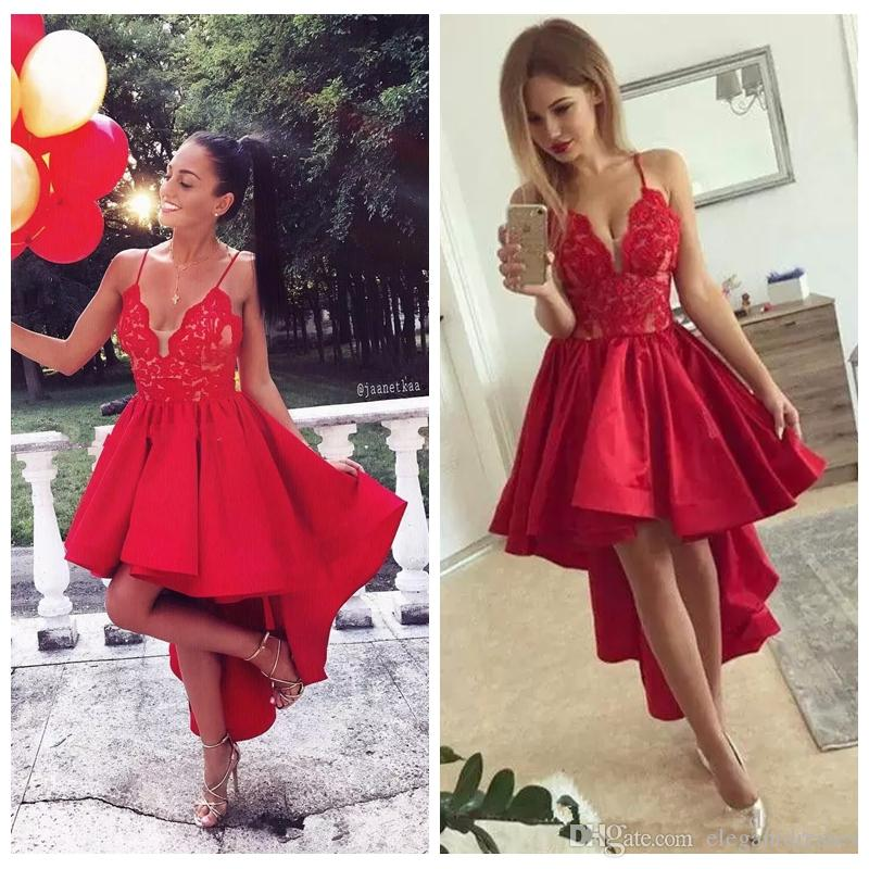 Red Sexy Spaghetti Strips A-Linie Spitze Appliques Homecoming Kleider Hihg Low Maßgeschneiderte Hi-Lo Short Junior Graduations Party Kleider 2019