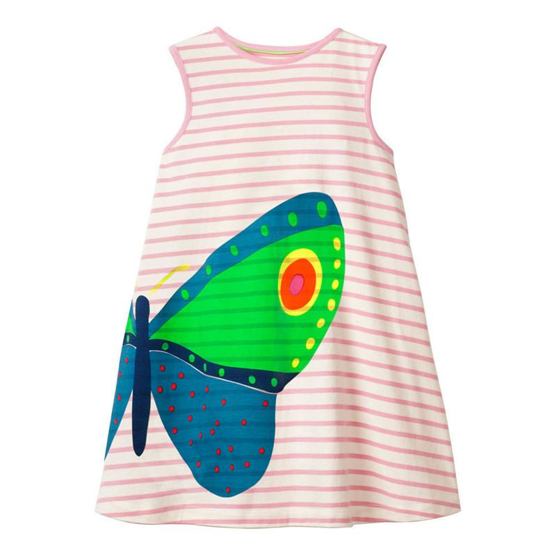 Jumping meters new striped princess dress sleeveless summer cartoon clothes printed a cute butterfly fashion baby girls clothing