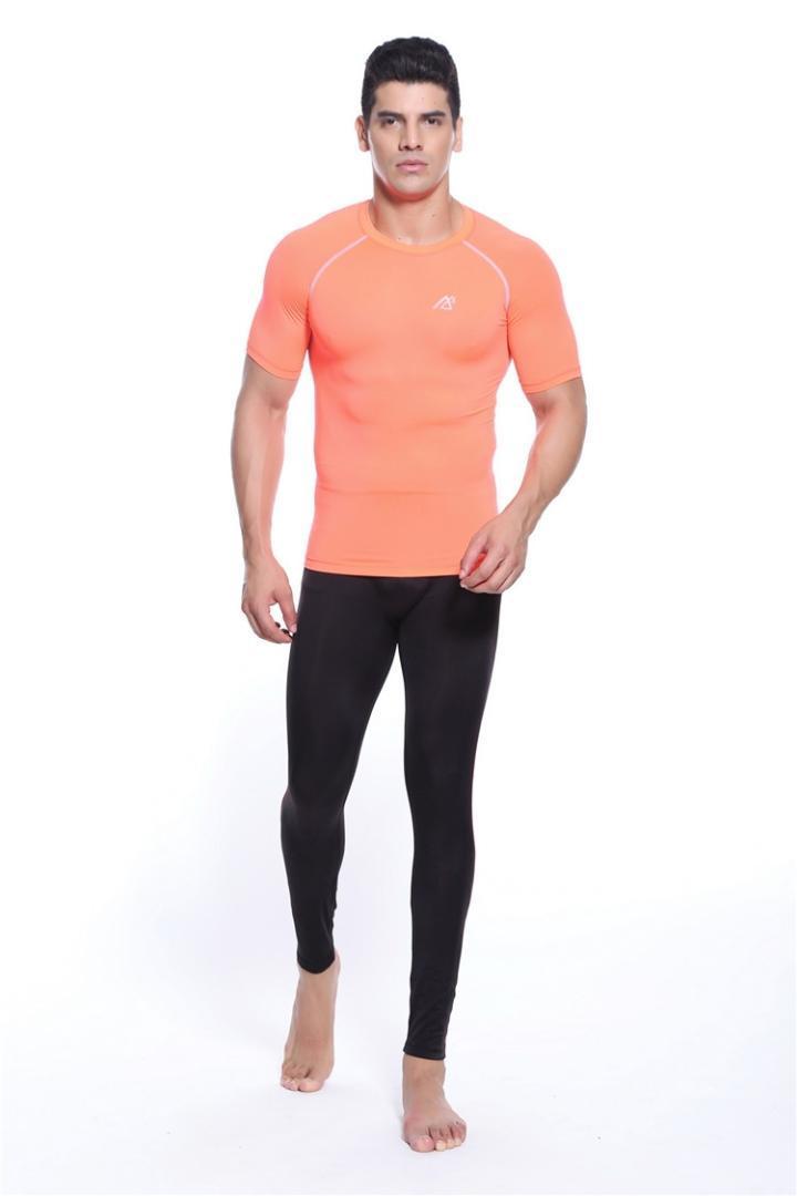 Para Camisetas Naranja Compresión Color Desgaste Cuello Bowling De Hombre 2018 GimnasioEntrenamientoMusculación O Camisa BoWrdCex