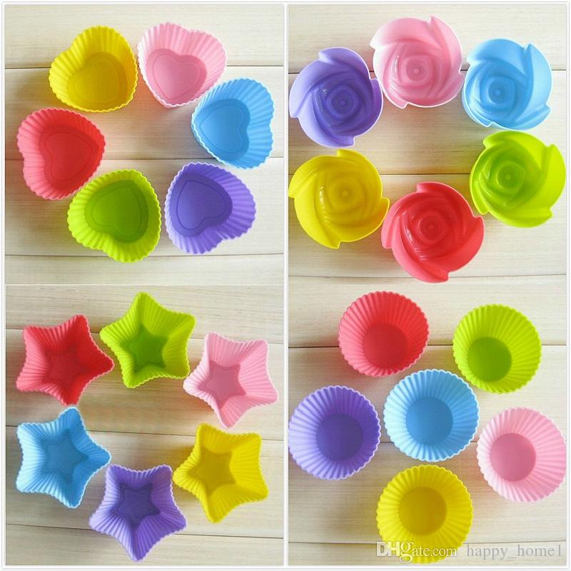 Cake Tool Molding Round Silicone Muffin Cupcake Liner Mould Case Bakeware Dishes Mold Tray Baking Form Cup Baking Mold