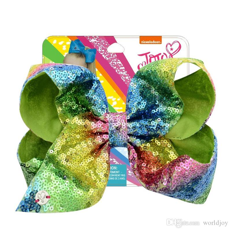 jojo siwa baby girl Children 8 inch LARGE sequins hair bows with card and sequin logo Hair Accessories fashion hair clip 20 color