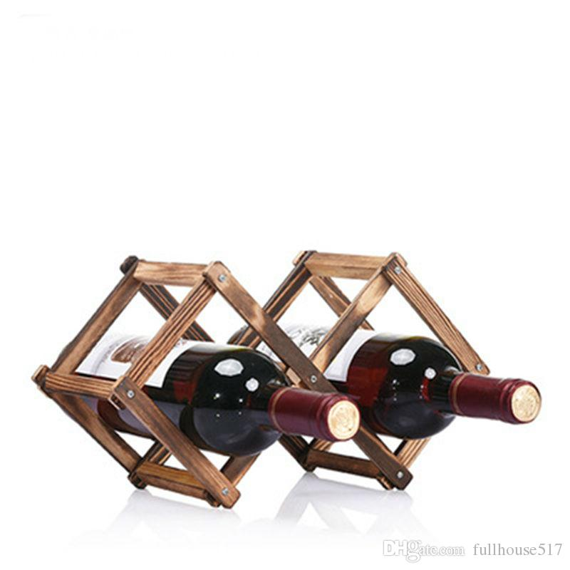 2019 Creative Wood Wine Bottle Rack Foldable Rhombus Shaped