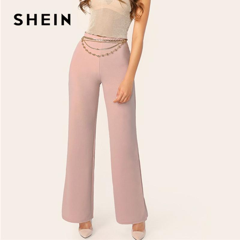 4e2091abe5 2019 SHEIN Pink Mid Waist Wide Leg Pants Women Spring Plain Trousers 2019  Office Lady Elegant Elastic Waist Workwear Long Pants From Candd, $32.67 |  DHgate.
