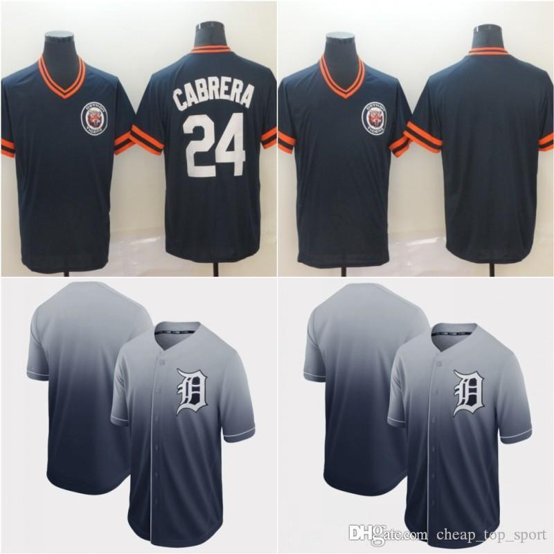 New Detroit 24 Miguel Cabrera Jersey Cooperstown Retro Collection Mesh Wordmark V-Neck Tigers Baseball Jerseys