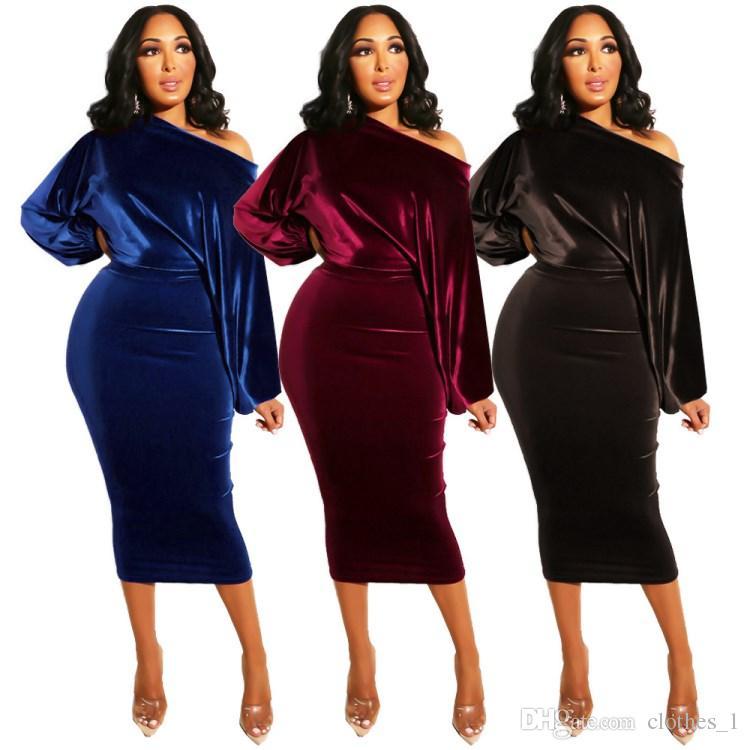 db796389ae2a Acheter Womens Une Pièce Robe À Manches Longues Hiver Jupe Designer Mid  Longueur Haute Qualité Robe Skinny Sexy Élégant Luxe Clubwear Klw0120 De   13.47 Du ...