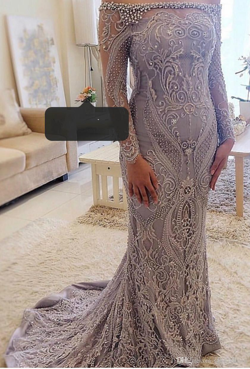 Aso Ebi 2019 Arabic Luxurious Lace Pearls Evening Dresses Mermaid Long Sleeves Prom Dresses Sheer Neck Formal Party Bridesmaid Gowns ZJ284