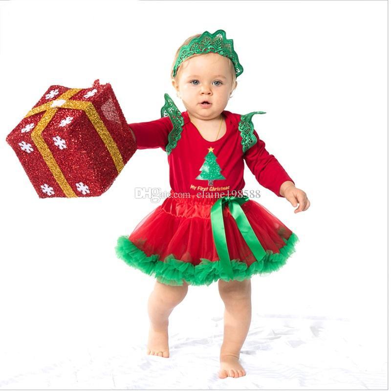 b356273ddb98 2019 Red XMAS Festival Baby Princess Tutu Skirts 0 24 Month Newborn Girls  Long Sleeve Romper Dresses Cotton Rompers+ Tutu Skirt+Headband From  Elaine198588