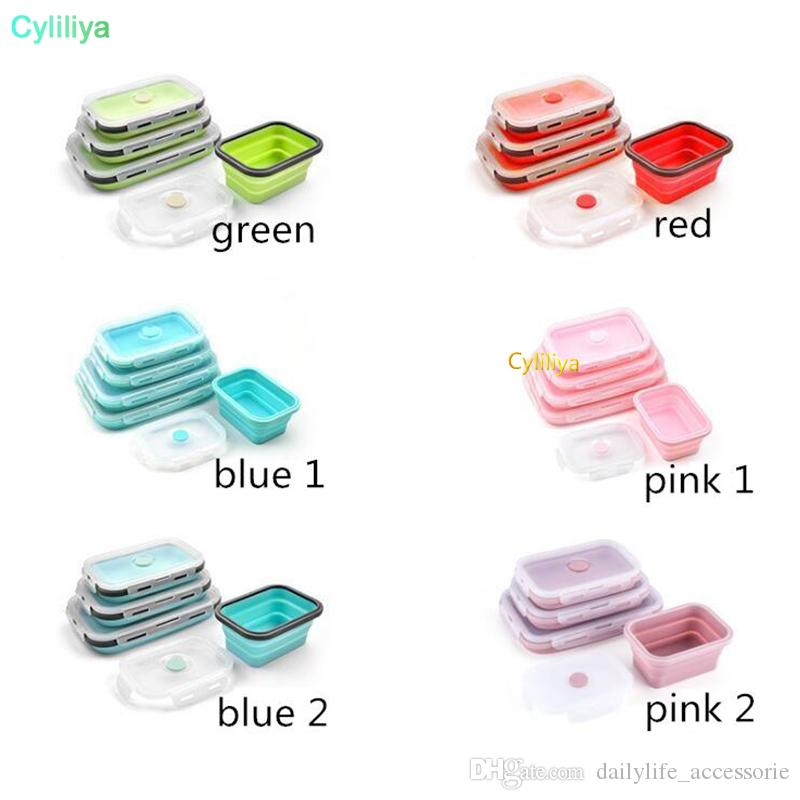 Floding Lunch Boxes Food Grade Silicone Food Storage Containers Student Portable Bento Box 350ml/500ml/800ml/1200ml