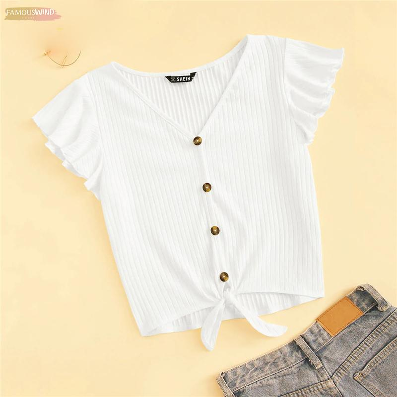 Flutter Sleeve Button Up T-Shirt 2019 White Sloid Women Rib-Knit 2019 Chic Summer V Neck Cap Sleeve Crop Tops