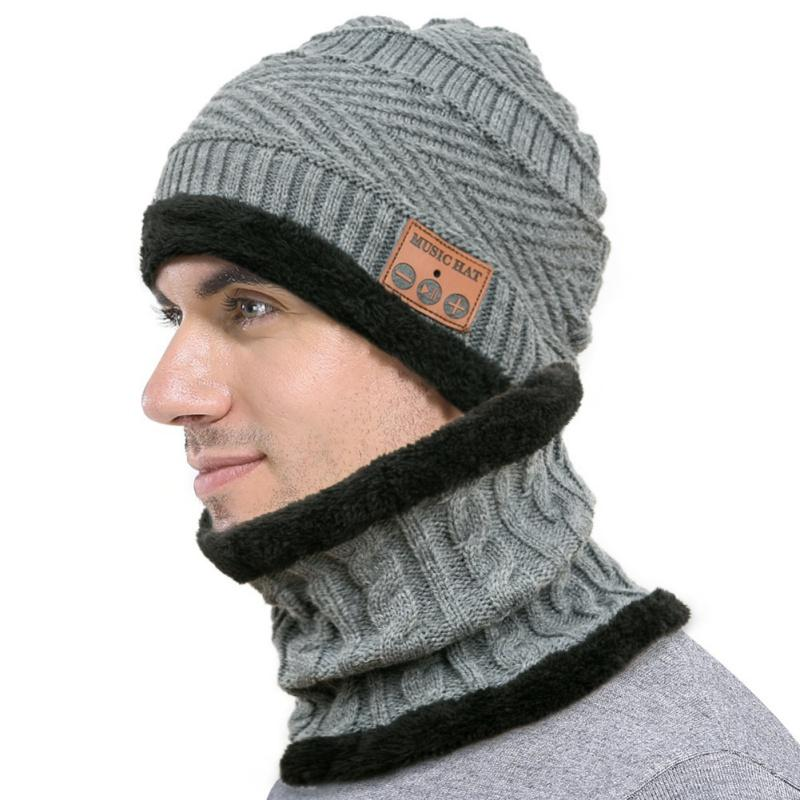 9b09797f740a8 Men Women Warm Bluetooth Hat With Scarf Earmuffs Knitted Music Cap High  Fidelity Support Call Warm Mask Two-piece Hiking Caps Cheap Hiking Caps Men  Women ...