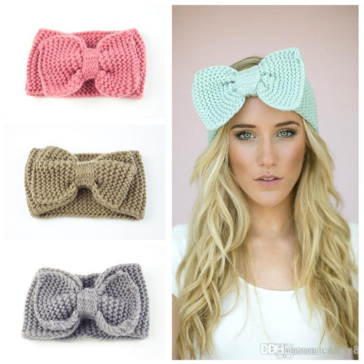 2019 Crochet Bow Headband For Women Girls Winter Ear Warmer Knitted