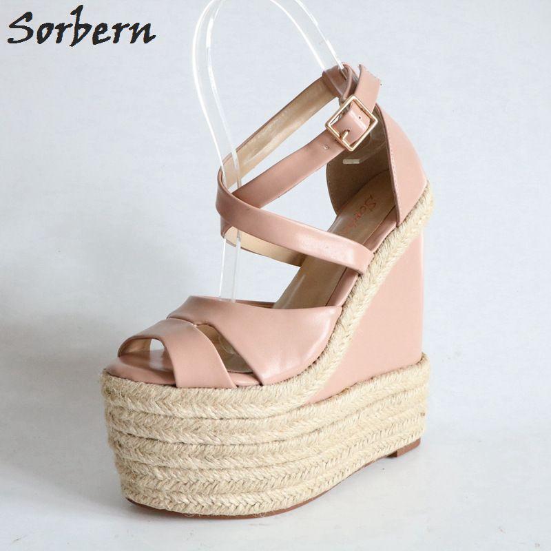 d2b9f19ca Wholesale Blush Pink Women Sandals Wedge High Heels Hemp Rope Sandals  Gladiator Wedges Sandals High Heel Platform Diy Leopard Shoe Comfortable  Shoes ...