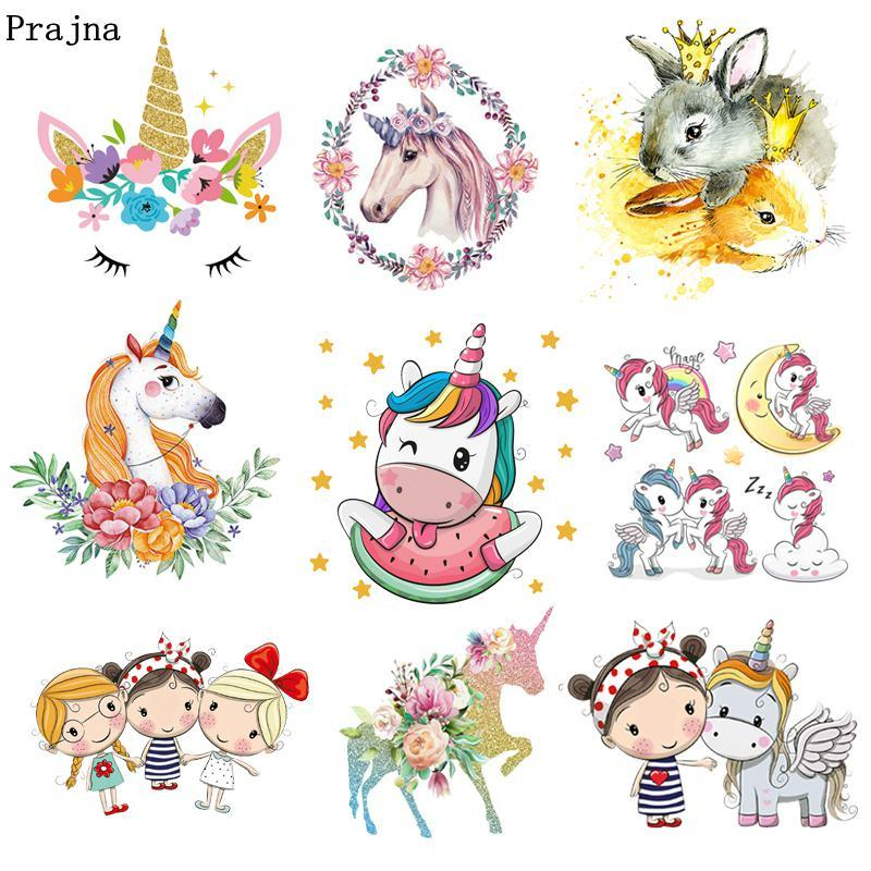 Prajna Unicorn Patches Cartoon Style Iron On Patch For Clothing Rainbow Watermelon Patterns Stickers On Clothes Jackets For Kids Patches