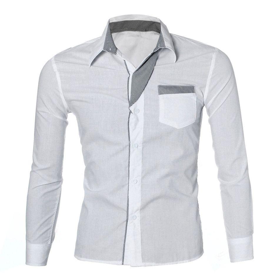 fb5d697c0 Compre Moda 2019 Camisas Formales Para Hombre De Manga Larga Con Cuello  Alto Camisa Blanca Vintage Hombres Fitness Clothing Camisa Social Masculina  A  37.81 ...
