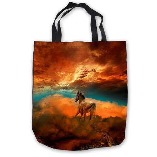 Custom Canvas Abstract-Horse-font-b 1 ToteBags Hand Bags Shopping Bag Casual Beach HandBags Foldable 180911-04-58
