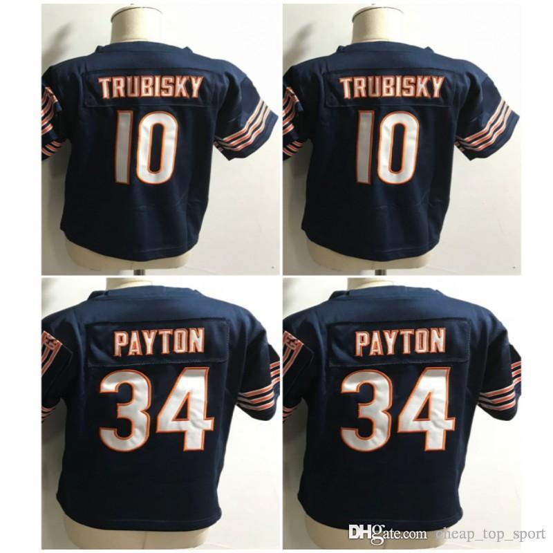 best website e2921 15e70 Toddler Baby Stitched Chicago Mitchell 10 Trubisky Walter 34 Payton Infant  Children Panthers Bears Jersey Preschool Kids Embroidery Logos