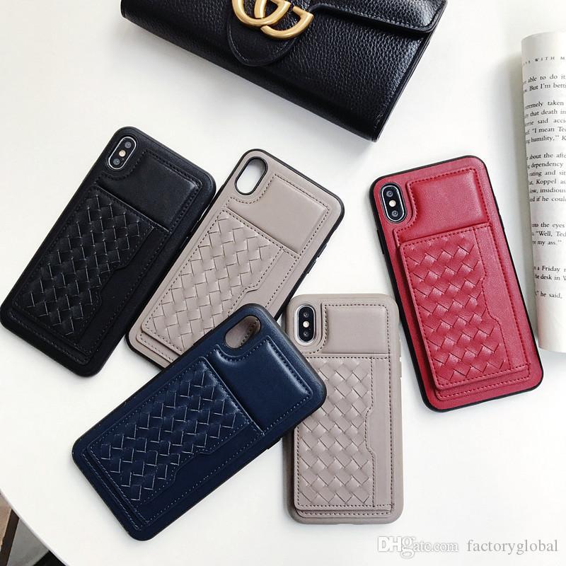 761bacbb9 Compre De Couro De Microfibra Telefone De Volta Caso De Telefone De Luxo  Tampa Traseira Case Com Slot Para Cartão Kickstand Para Iphone Xs Max / Xr  / Xs De ...