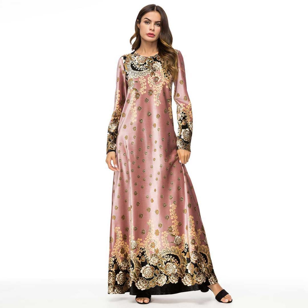 96f49d8aea60 Acquista 2019 Primavera Autunno Floral Printed Velluto Maxi Dress Oversize  Chic Donne Vintage Vestito Musulmano Plus Size Ramadan Vestiti VKDR1470 A   39.87 ...