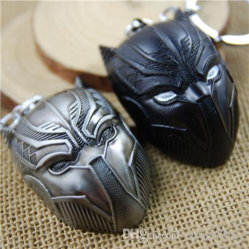 17 styles Avengers Captain America 3 Panther Mask Keychain Antique Tin and black gun bronze Keyring pendant Jewelry Accessories newv001