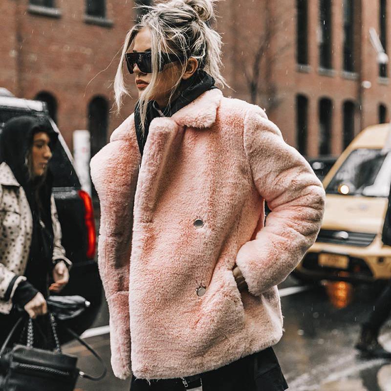 4c98889014 2019 Elegant Pink Shaggy Women Faux Fur Coat Streetwear Autumn Winter Warm  Plush Teddy Coat Female Xxl Xxxl Plus Size Overcoat Party From Mujing, ...