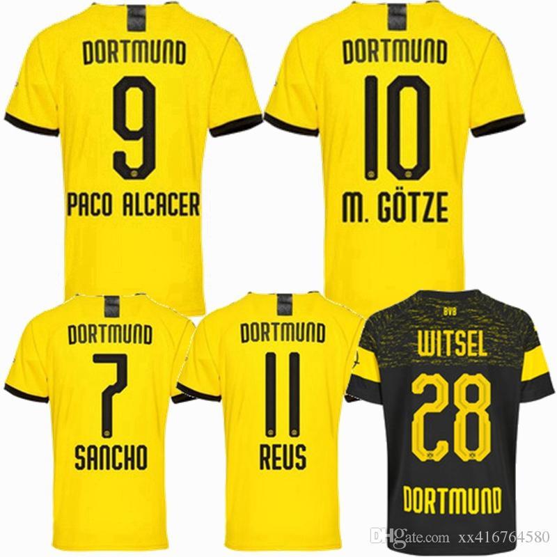 brand new e809d 4f39f New 2019 2020 BVB Borussia Dortmund soccer jersey 18 19 20 GOTZE SANCHO  WITSEL PACO ALCACER REUS Borussia HOME away football shirts S-2XL