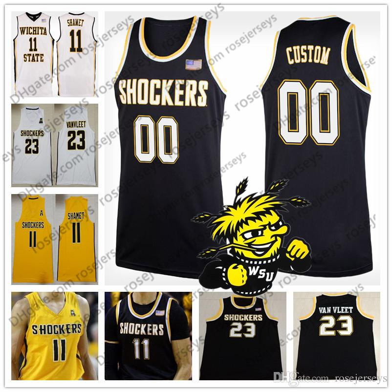 huge selection of 9046a 9b3d3 Custom Wichita State Shockers College Basketball black yellow white  Stitched Any Name Number #11 Landry Shamet 23 Fred VanVleet Jersey S-4XL