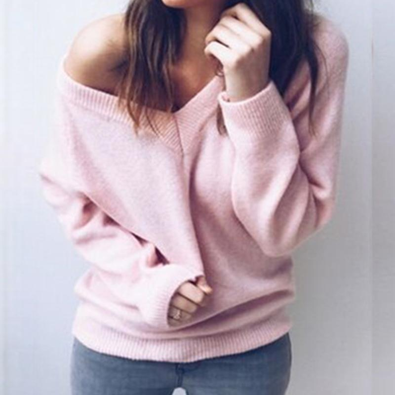 52899820dbf96 Autumn Women Knitted Sweater 2019 Winter V Neck Long Sleeve Backless Tops  Elegant Lady Double Dressing Sweaters Plus Size GV985 UK 2019 From Jamie11