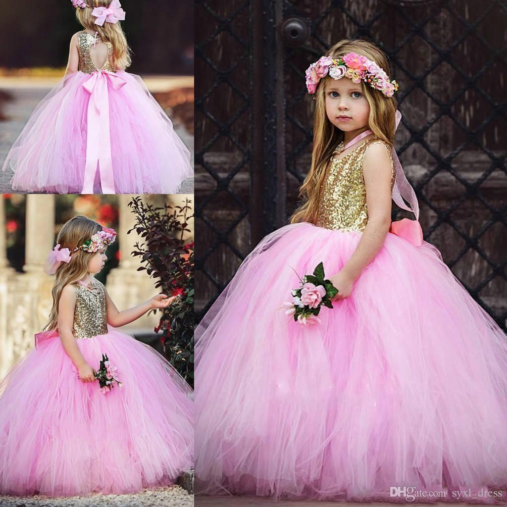 c6e09d9553b 2018 Cute Sequined Dresses Tulle Skirt Flower Girls Dresses Floor Length  Girls Pageant Dress Communion Dress Kids Formal Wear Flower Wedding Flower  Girl ...