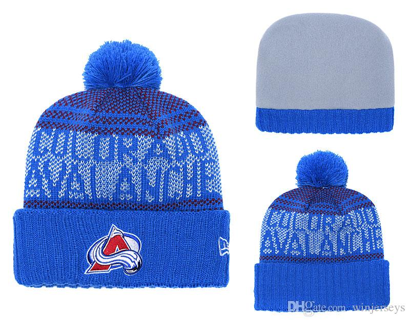 d0109e014168a Colorado Avalanche New Men s High Quality Knitted Beanies Winter Warm Skull  Hats Pom Embroidery Team Logo Cuff Beanies Online with  10.93 Piece on ...