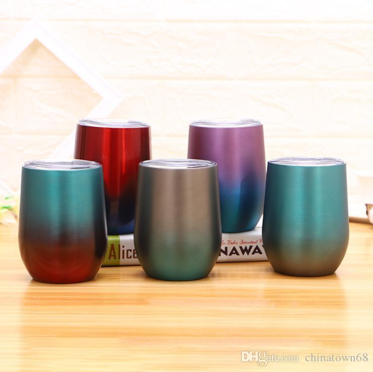 9oz stainless steel vacuum flask juice red wine cup creative gradient egg-shaped cup 4 color optional free shipping