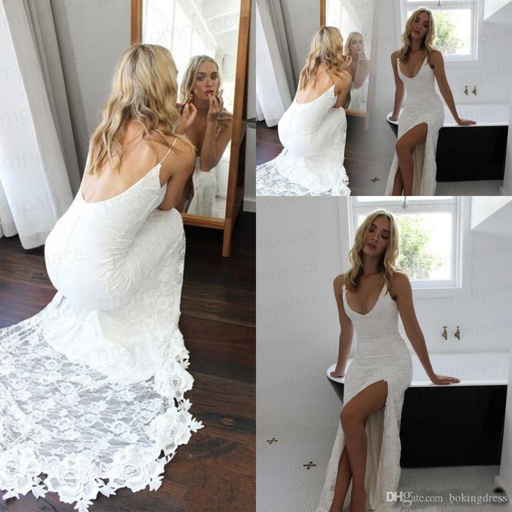 c6d94372a35 2019 Gorgeous Sexy White Backless Mermaid Wedding Dresses V Neck Side Split Spaghetti  Strap Sleeveless Bridal Wedding Gowns Custom Made Vintage Wedding ...