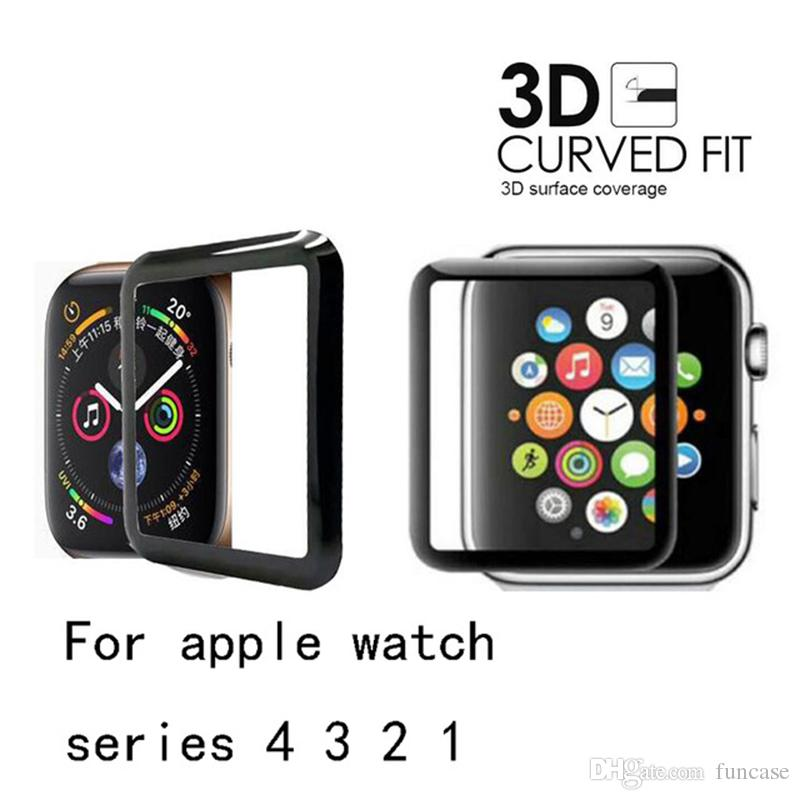 Vidrio templado curvo 3D 9H Premium Full Cover Anti-shock Guard Film Protector de pantalla para Apple Watch Series 4 3 2 1 40mm 44mm 38mm 42mm
