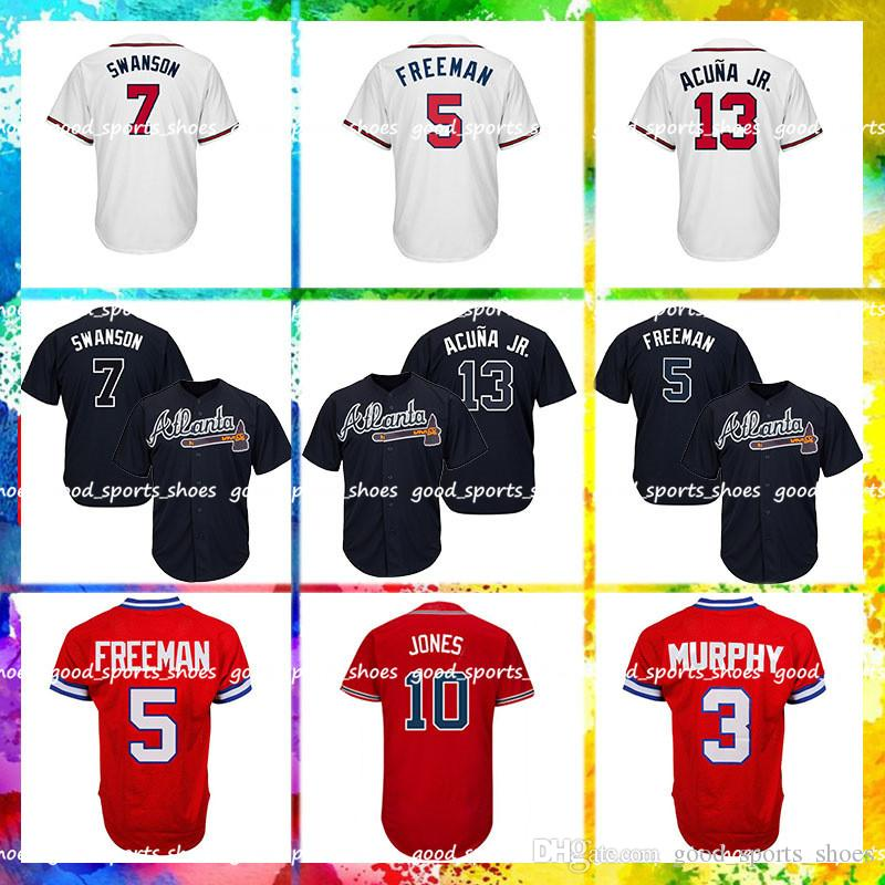 huge discount e7596 9f3d4 Atlanta Braves Jersey 13 Ronald Acuna Jr Jersey 5 Freddie Freeman Jersey 3  Dale Murphy 10 Chipper Jones 7 Dansby Swanson
