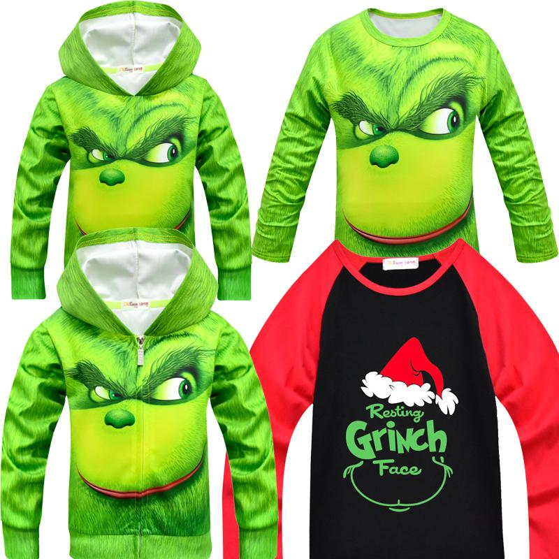2019 Grinch Full Face Coat Kids Christmas Clothes Girls Boys Outwear