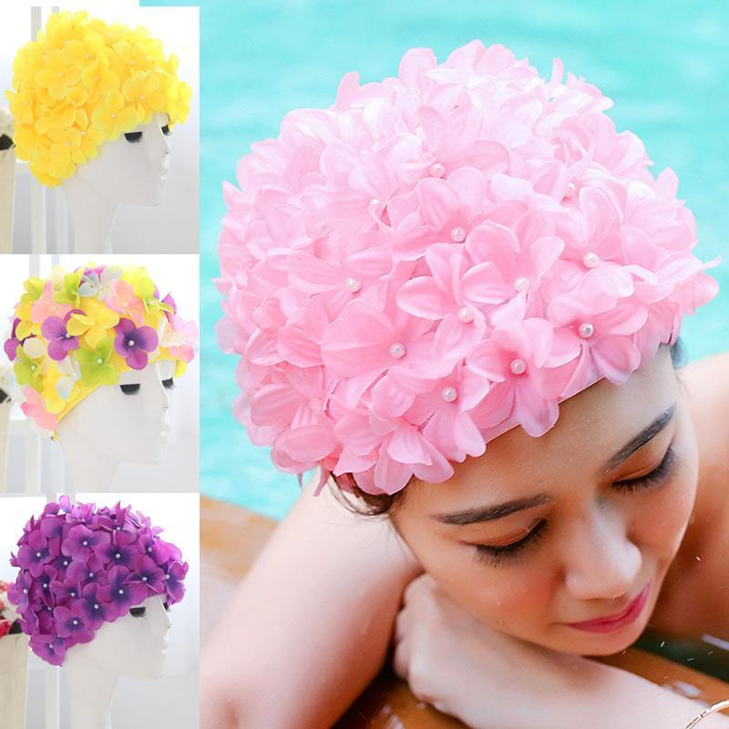 169dfac7395 2019 Women 3D Petal Swim Hat Bath Cap Ladies Swimming Pool Flower Hats XR  Hot From Orangeguo, $34.32   DHgate.Com