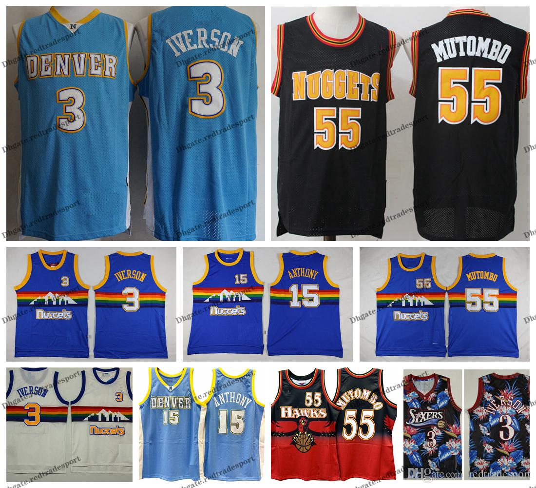 save off 12293 ad1b9 Vintage Mens #3 Denver Iverson Nuggets Carmelo Anthony 15 Dikembe Mutombo  #55 Allen Iverson 76ers Basketball Jersey Stitched Shirts S-XXL