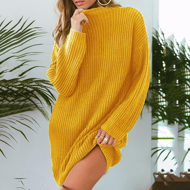 0ae6e53810a Women Winter Dress 2019 Knitted Dress Turtleneck Long Sleeve Slim Loose Dress  Sweaters Pullovers Plus Size Streetwear Unique Dresses Long Summer Dresses  ...
